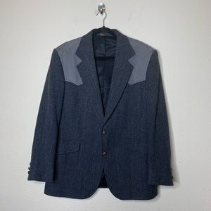 Pendleton Gray Wool Suede Elbow Patch Sport Coat